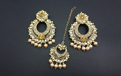 New Indian bollywood Elegant earrings and tikka in LCT jewellery in pearl