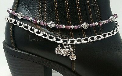 Boot Bling Anklet Chain Bracelet Jewelry Motorcycle Purple Crystals Biker Chick