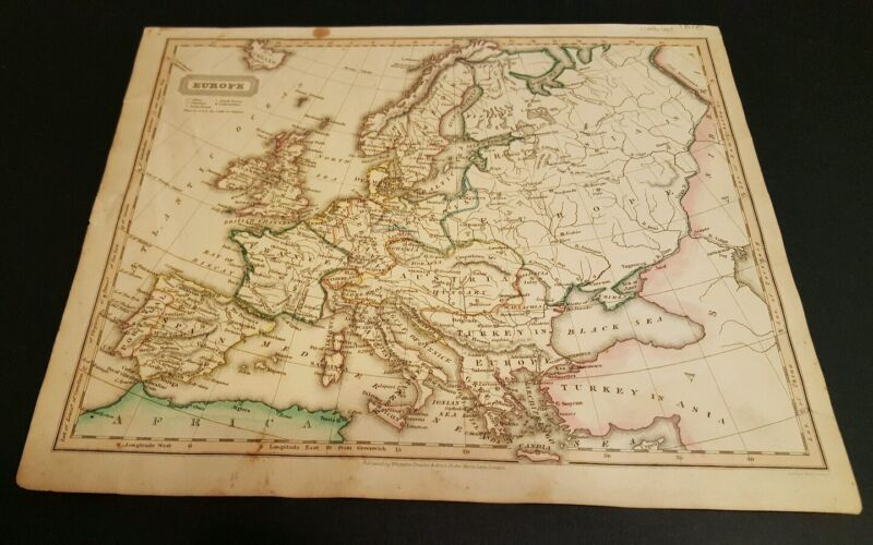 1828 Woodbridge EUROPE map hand colored map