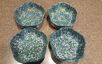 Set of 4 Roseville Spongeware Pottery Gerald Henn Green/Blue Petal Bowl ~ Rare