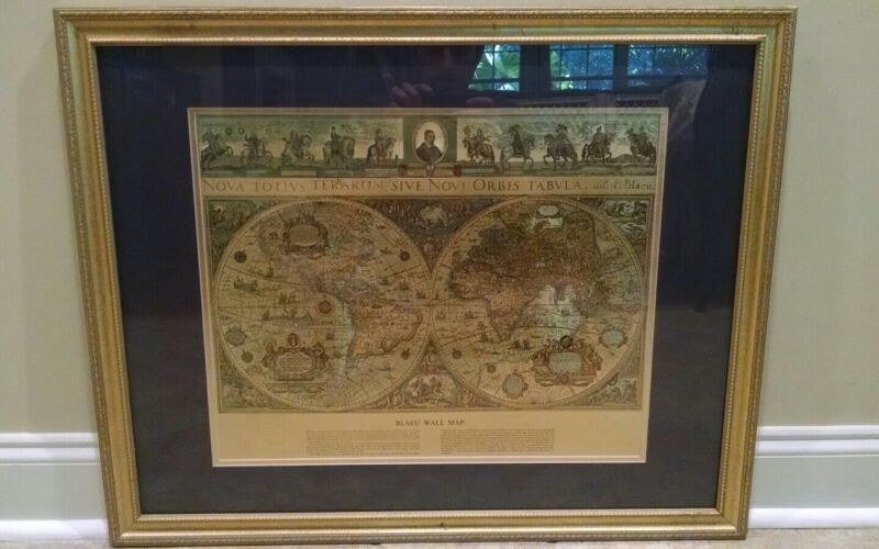 Foiled Blaeu Wall Map of New World 30x26 Double Matted Framed