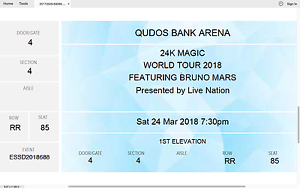 1 x BRUNO MARS TICKET (A Reseve Section 4) Canberra City North Canberra Preview