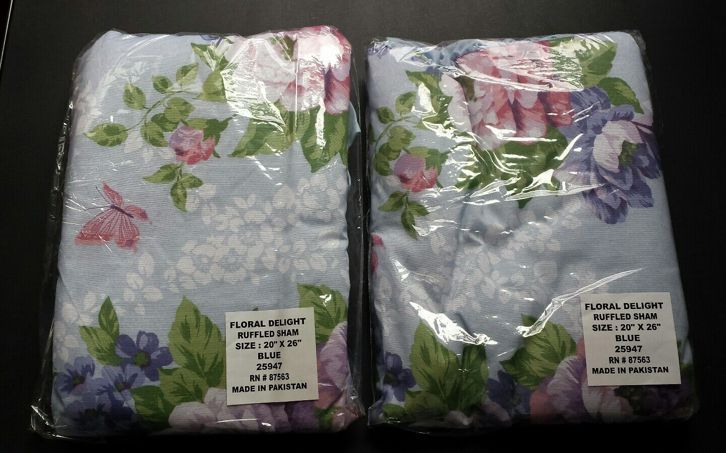 Nwt Two Pillow Cases Standard Size Butterfly Floral Blue Cot