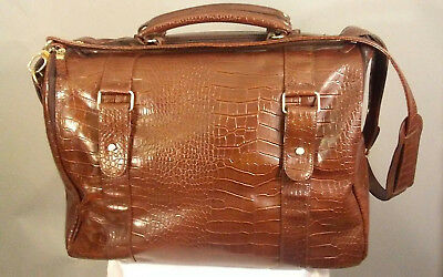Bath and Body Works Faux Leather Embossed Brown Weekender Duffle Overnight Bag