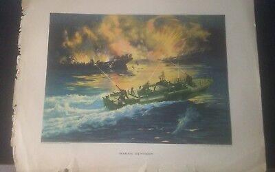 ELECTRIC BOAT 1944 NAVY MILITARIA PROPAGANDA POSTER BARGE BUSTERS