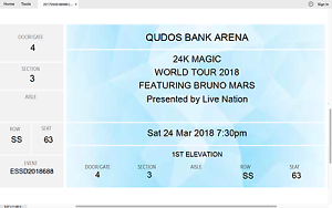 1 X BRUNO MARS TICKET (A RESERVE SECTION 3) Canberra Region Preview
