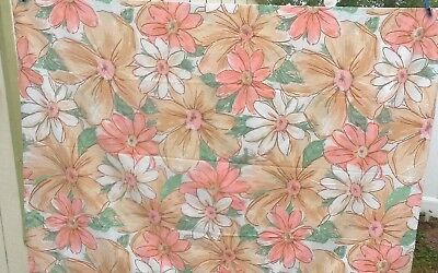 Vtg Cannon Royal Family Comfortcale Twin Flat Sheet Mod Bold Flower Power USA