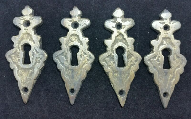 "4 Vintage Antique Style Eschutcheon Keyhole Covers ornate  size 3 3/8"" tall #E2"