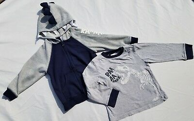 - Gymboree Boys Shirt Sweatshirt Sz 3T Field Expedition Dinosuar Hood Long Zip Up