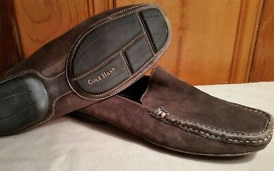 (COLE HAAN D13012 Chocolate Brown Leather Slip On Driver Loafers - Sz 10.5 B)