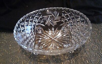 AMERICAN BRILLIANT FOOTED NUT/ CANDY CUT GLASS BOWL
