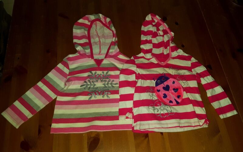 Lot Of 2 Pcs Toddler Girl Graphic Hooded Shirts Sz 12-18 Months Childrens Place