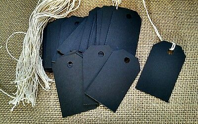 Black Card Stock (50 black chalkboard card stock price tags, gift tags, bag)
