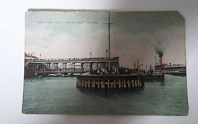 The Pier. Hull. Ferry Boat Leaving. Postcard