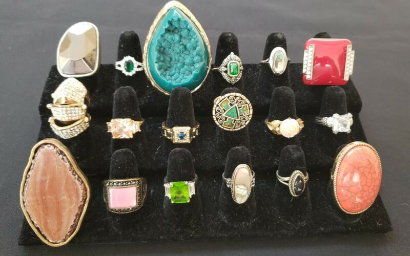 Gold tone silver tone rhinestone glass enamel gemstone costume rings