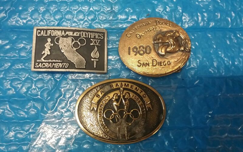 (3) VTG CALIFORNIA POLICE OLYMPICS 1980 XV 1984 BELT BUCKLES NICE HTF