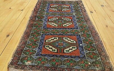 Antique 1'9''x3'1'' Tribal Cushion Cover Wool Pile Rug Turkey