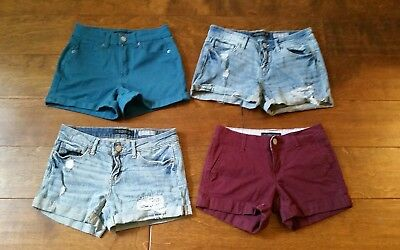 Girls Blue Denim Shorts - AEROPOSTALE Girls Shorts Size 000 & 0 & 00 Denim MIDI Red Blue High Waist LOT