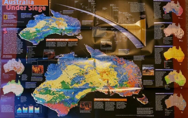 Australia Under Siege: Map / Poster - National Geographic Society 2000