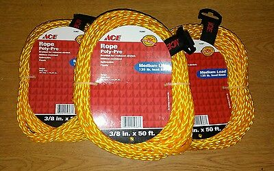 """ROPE 3 3/8"""" YELLOW FLOAT MEDIUM LOAD 135 LB 50 FT POLY PRO BRAIDED SAILING BOAT"""