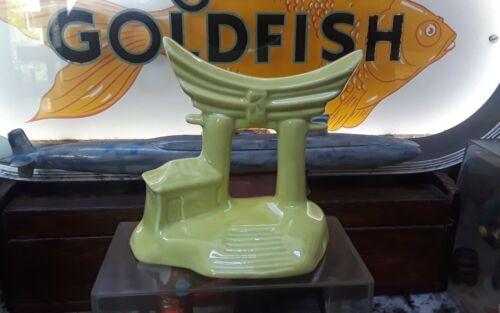 Vintage Antique Aquarium Fishbowl Ceramic Sunken Swim Through Yellow Temple Arch - $24.95