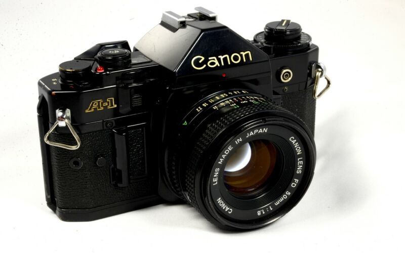 Canon A-1 Manual Focus 35mm SLR Camera + Choice of Lenses (e.g. 50mm f/1.8)