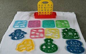 Lot-12-Childrens-Plastic-Stencils-6-Tuppertoy-other-amp-carrying-unit-Tupperware