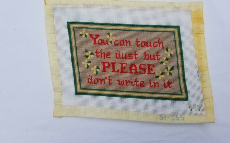 Vintage Completed Keepsake Needlepoint Piece Pillow