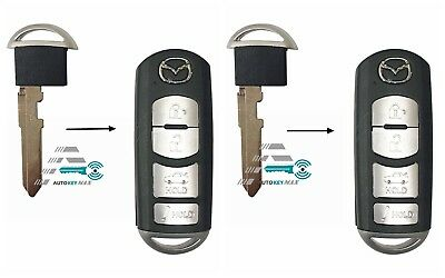 2x Keyless Entry Remote Car Key Fob Control Uncut Blade Insert for Mazda Smart