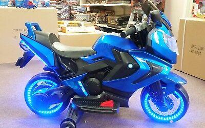 NEW LED 12V MP3 MOTOR CYCLE KIDS CHILDREN RIDE ON ELECTRIC SPORTS BLUE BIKE