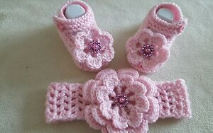 Hand knitted Romany Bling baby girls booties + Crochet headband.0-3months