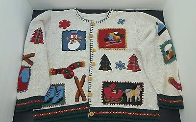 Ugly Christmas Sweater  Womens size S tan with decorative patches ](Christmas Jumper Decorations)