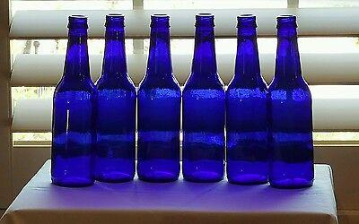 (6) Cobalt Blue Glass Beer Bottles Crafts Bottle Trees Lawn Yard Ornaments