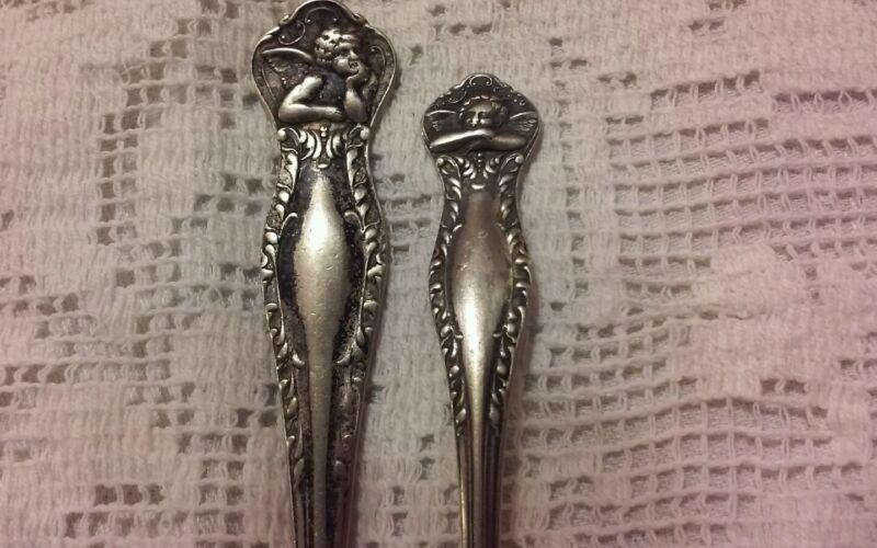 Vintage Art Silver Co Fork & Spoon Set Angels - 1890's Lovely!