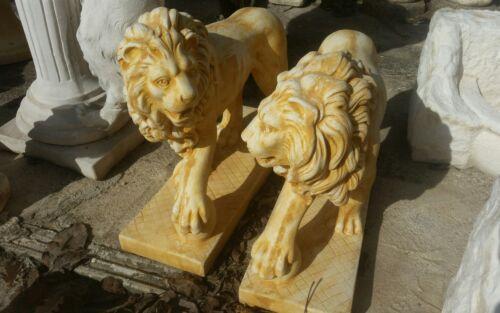 coppia leoni in cemento polvere di marmo in piedi base giardino statua statue