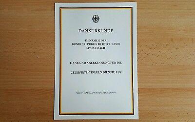 Original Bundeswehr BW BRD Blanko Urkunde Dankurkunde NEU