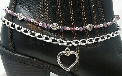 Handmade Beaded Boot Bling Bracelet Anklet Chain Purple Heart Charm Adjustable