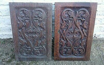 Pair Of Antique Carved Oak Panels