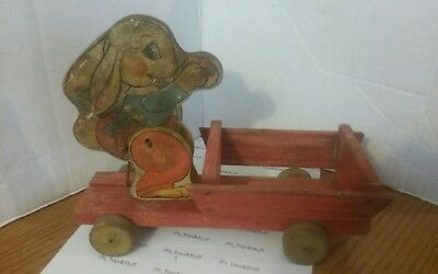 Vtg Fisher Price #466 Busy Bunny Wood Pull Toy Easter 1941