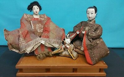 3 Antique Japanese Dolls: Man, Woman, and Child W/ Wooden Stand