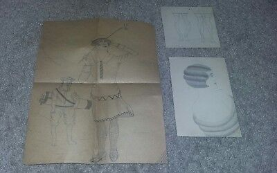 Vintage Women Drawings Art 3 Lot Good Condition Preowned
