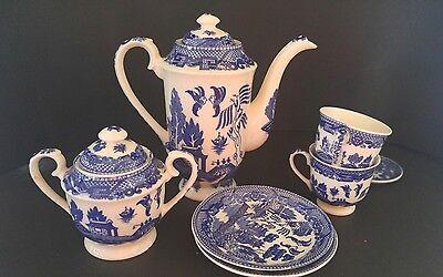 Vintage Blue Willow Tea Set 8 Pieces