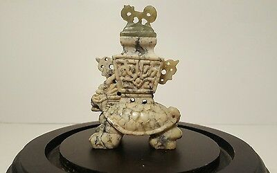 Chinese Imperial Guardian Lion Stone Craved Snuff Bottle