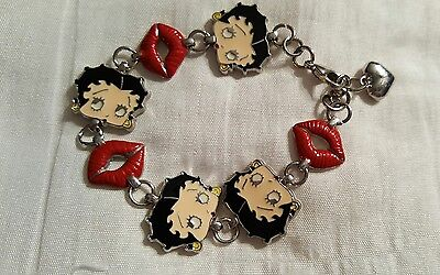Vintage Betty Boop Charm Bracelet Signed KFS/FS Cartoon Memorabilia 6.5 to 7""