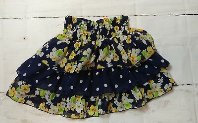 The Childrens Place Girls Size 7/8 Floral Polka Dot Blue Tiered Ruffle Skirt