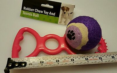 Dog pet toy 2 pcs set tennis ball and rubber ring #57424  NEW