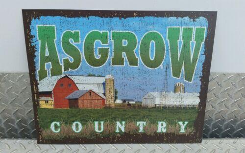 Asgrow soybean SEEDS METAL ADVERTISING Sign, ASGROW COUNTRY colorful FARM SCENE