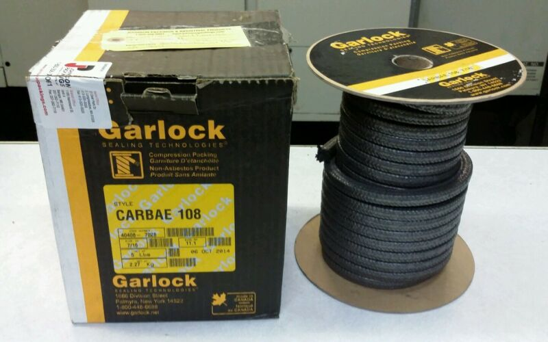 "Garlock Carbae 108 7/16"" Compression Packing 5LBS 40408-7028 NEW (LOCSP2D4)"