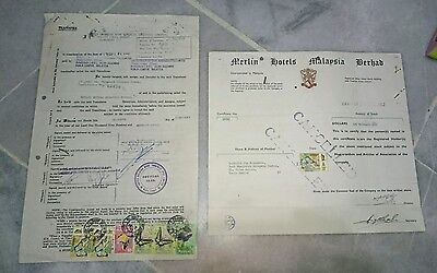 1973 Merlin Hotels Malaysia Bhd Share Certificate &  Agreement Butterfly Stamps