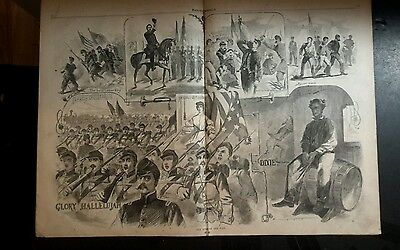 1861 Harper's Weekly paper  Scout cover 2 pg Winslow Homer Songs of Civil War +